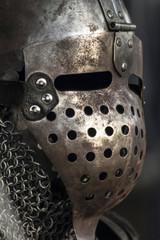 Medieval metal warrior helmet and suit