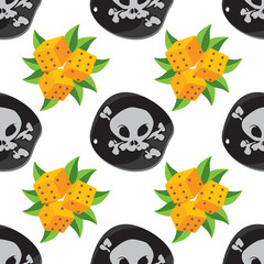 Seamless pattern for design surface Dice with green foliage.