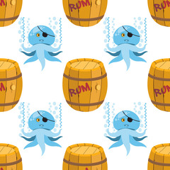 Seamless pattern for design surface Wooden barrel of rum.