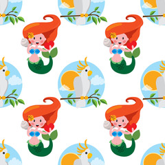 Seamless pattern for design surface Mermaid.