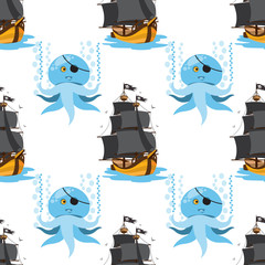 Seamless pattern for design surface Ship with black sails.