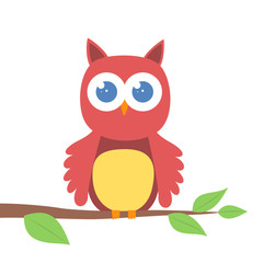 Cute cartoon owl on a branch