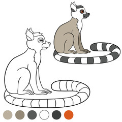 Color me: lemur. Little cute lemur smiles.