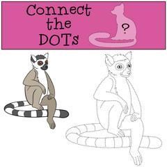 Educational game: Connect the dots. Little cute lemur smiles.
