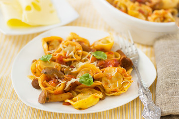 Homemade raviloi tortellini with tomato sauce with mushrooms
