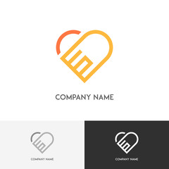 Marriage love logo - two hands with the ring make a heart shape on the white background