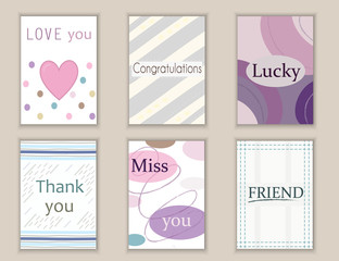 Cute hand drawn doodle postcards, cards, covers with different elements and quotes including thank you, love, miss you, friend, congratulations, lucky. Printable templates set