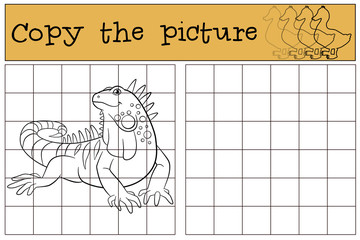 Educational game: Copy the picture. Cute iguana.