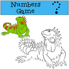 Educational game: Numbers game with contour. Cute iguana.