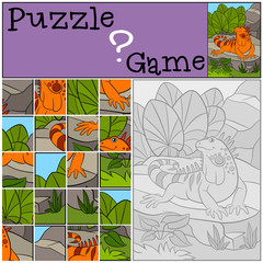 Education game: Puzzle. Little cute iguana sits on the rock.