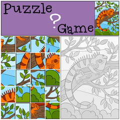 Education game: Puzzle. Little cute iguana sits on the tree.