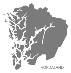 Hordaland Norway Map grey