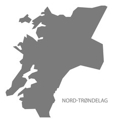 Nord-Trondelag Norway Map grey