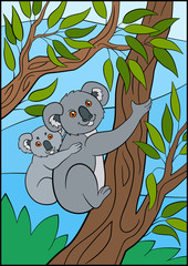 Cartoon animals. Mother koala with her little cute baby.
