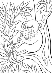 Coloring pages. Mother koala with her little cute sleeping baby.