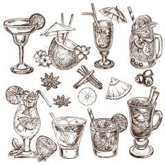 hand drawn sketch illustration cocteils