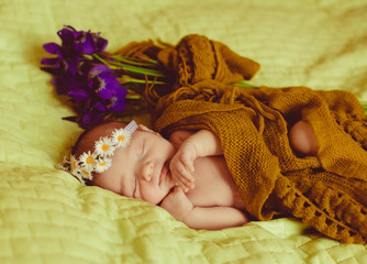 little  child in a wreath of flowers sleeps soundly on the bed