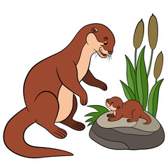 Cartoon animals. Mother otter with her cute baby.