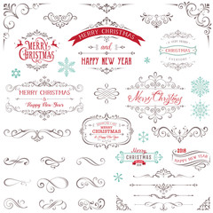 Ornate Christmas frames and swirl elements with Merry Christmas quotes and snowflakes.