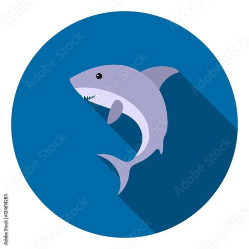 Shark icon in flat style isolated on white background. Animals symbol stock vector illustration.
