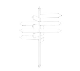 Arrow road sign. Sketch illustration.Isolated on white backgroun