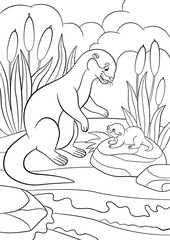 Coloring pages. Mother otter looks at her cute baby.