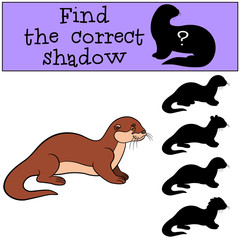 Educational game: Find the correct shadow. Little cute otter smi