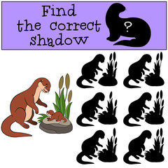 Educational game: Find the correct shadow. Mother otter with bab