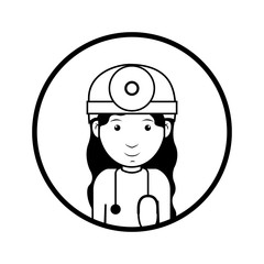 silhouette avatar woman medical doctor with surgery clothes and stethoscope tool. professional medical occupation over white background. vector illustration