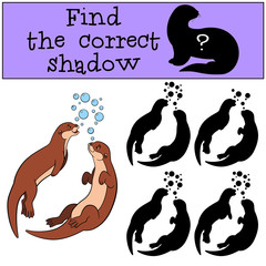 Educational game: Find the correct shadow. Two little cute otter