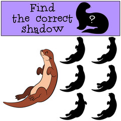 Educational game: Find the correct shadow. Little cute otter swi