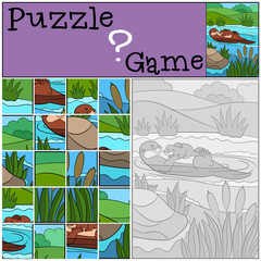 Education game: Puzzle. Mother otter swims with baby.