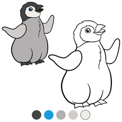 Coloring pages. Little cute baby penguin smiles.