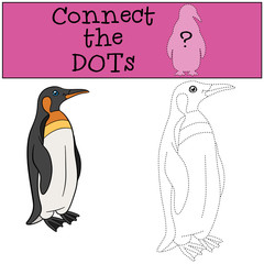 Educational game: Connect the dots. Little cute penguin smiles.