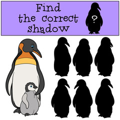 Educational game: Find the correct shadow. Mother penguin with b