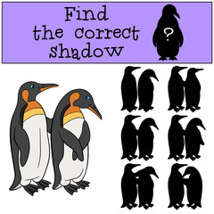 Educational game: Find the correct shadow. Two little cute pengu