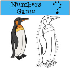 Educational game: Numbers game with contour. Little cute penguin