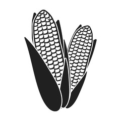 Fototapete - Sweet corn icon in black style isolated on white background. Canadian Thanksgiving Day symbol stock vector illustration.