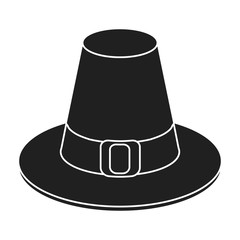 Pilgrim hat icon in black style isolated on white background. Canadian Thanksgiving Day symbol stock vector illustration.