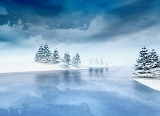 frozen lake with trees and cloudy sky