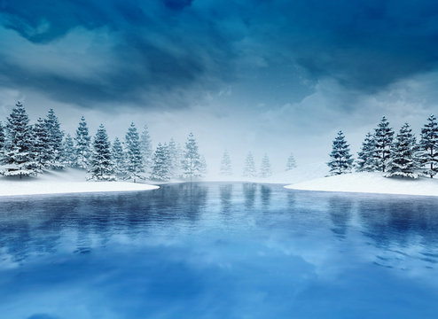 frozen lough with trees and cloudy sky