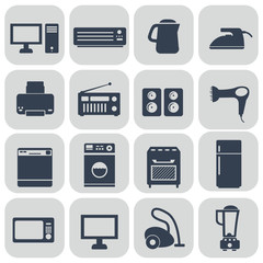 Set of household appliances flat thin line icons
