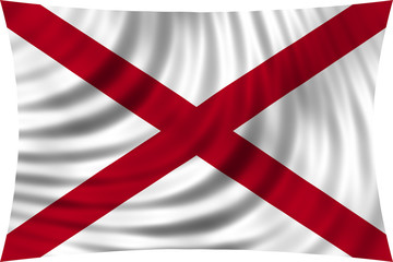 Flag of the US state of Alabama waving isolated on white