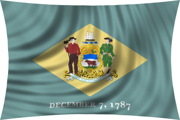 Flag of the US state of Delaware waving isolated on white
