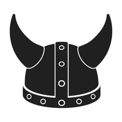 Viking helmet icon in black style isolated on white background. Hats symbol stock vector illustration.