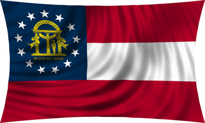 Flag of the US state of Georgia state waving isolated on white