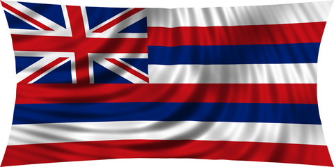 Flag of the US state of Hawaii waving isolated on white