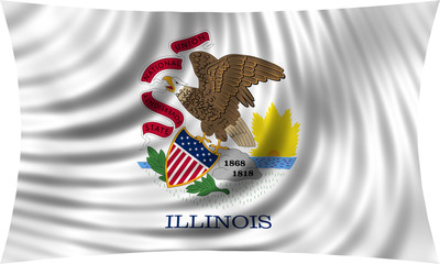 Flag of the US state of Illinois waving isolated on white