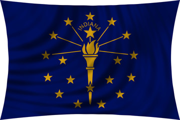 Flag of the US state of Indiana waving isolated on white