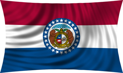 Flag of the US state of Missouri waving isolated on white